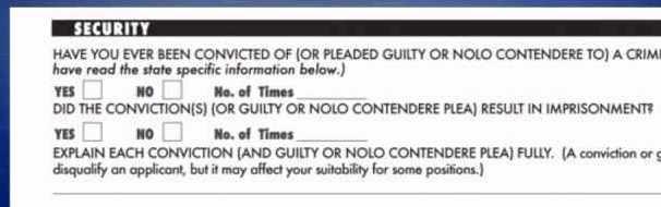 Criminal record check job application
