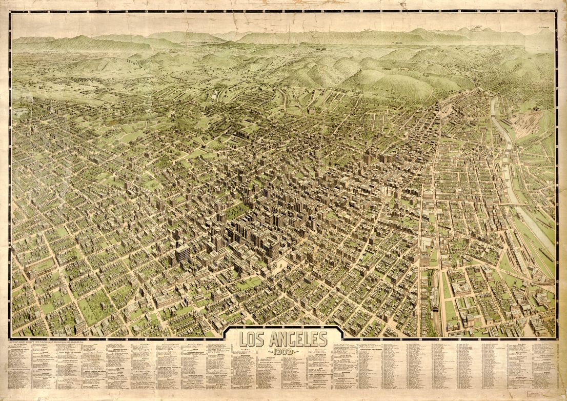 1909 - Los Angeles Bird\'s Eye View - The Gray-Emmer Map Collection