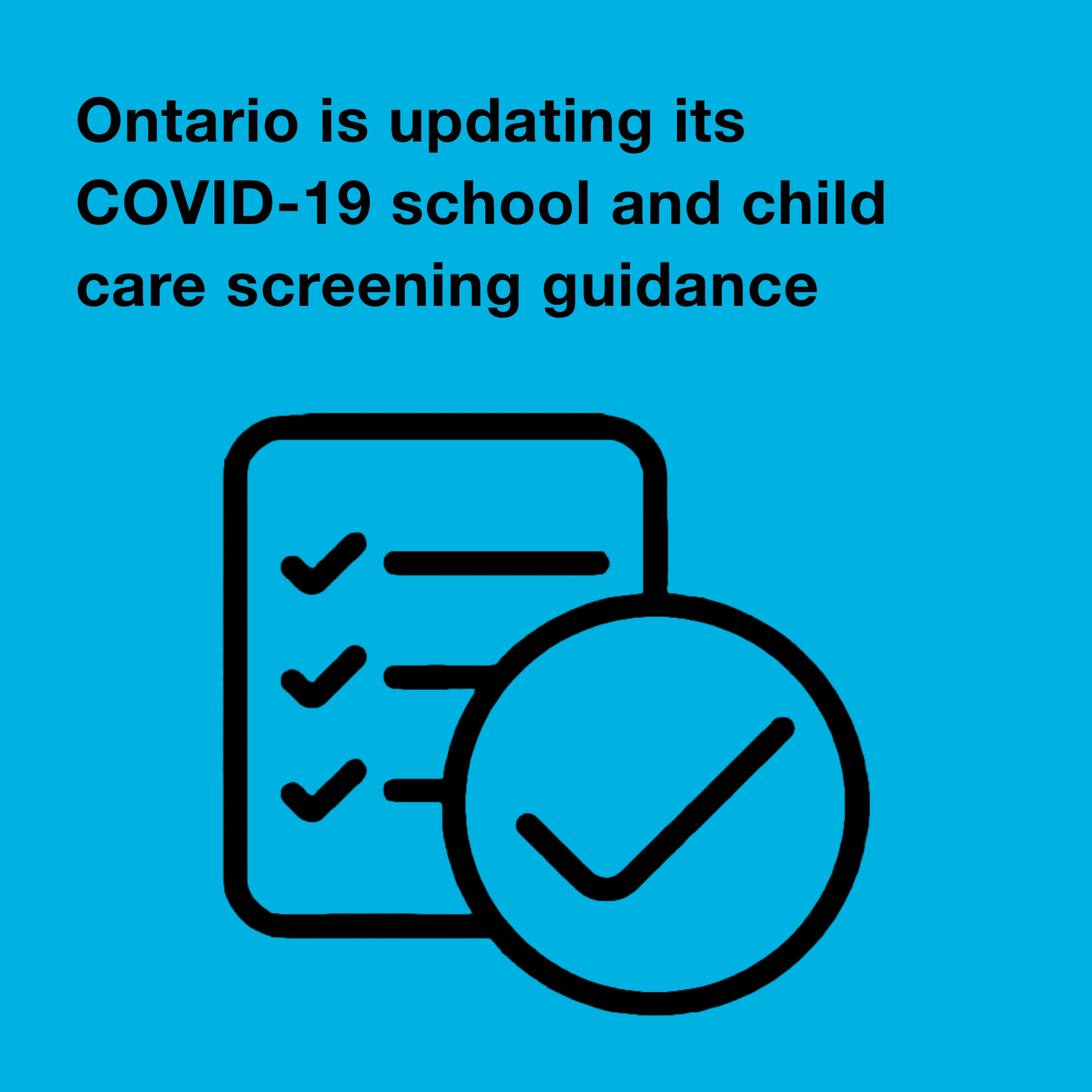 Updating Testing Guidelines for Schools and Child Care - October 1/20