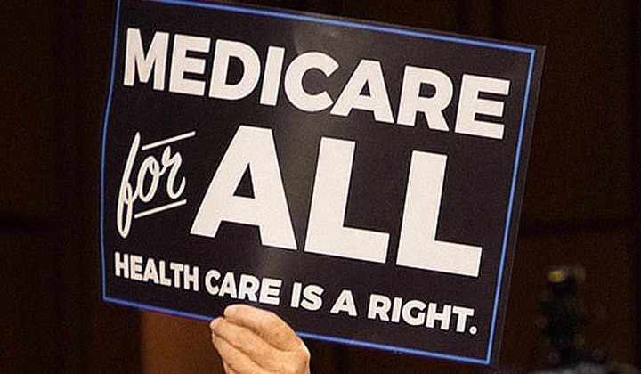 An activist holds a Medicare-for-All sign