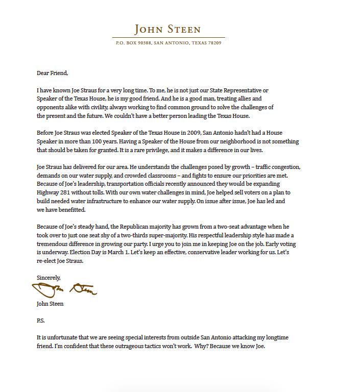 John Steen Letter