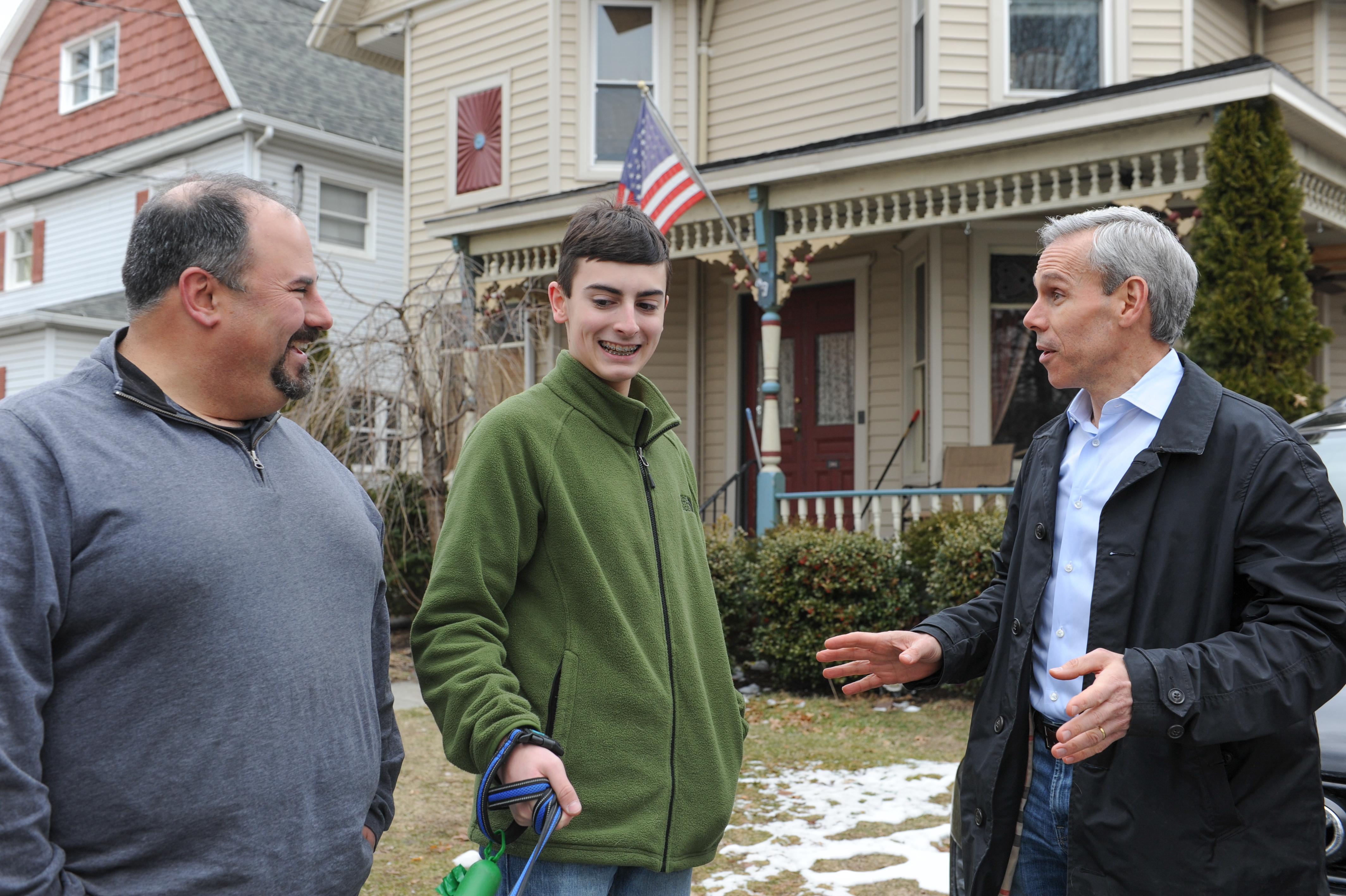 John visits with some voters from the district