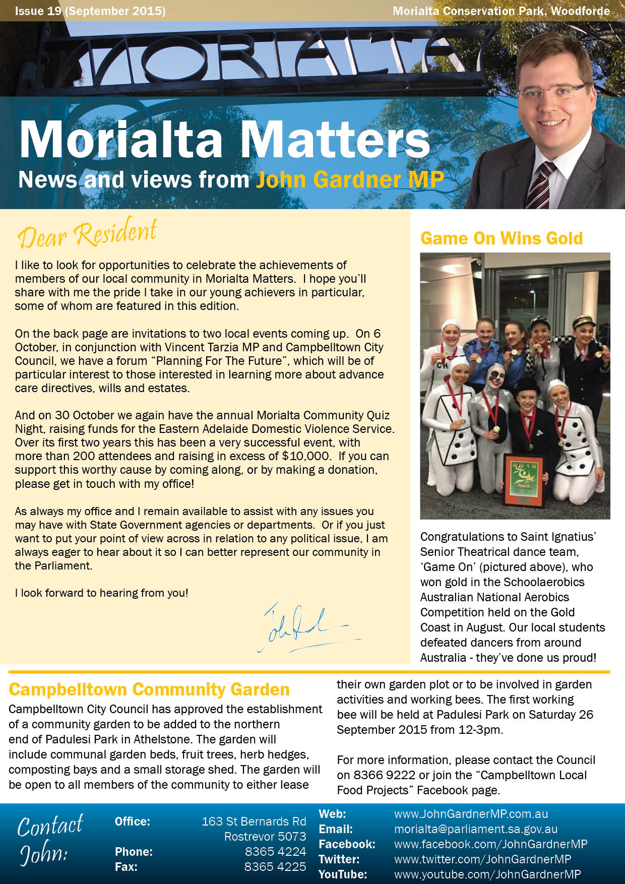 Morialta Matters - Issue 19 (September 2015) - John Gardner
