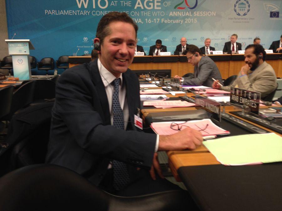 Jonathan Djanogly promoting British trade at the World Trade Organisation's Parliamentary Conference in Geneva.