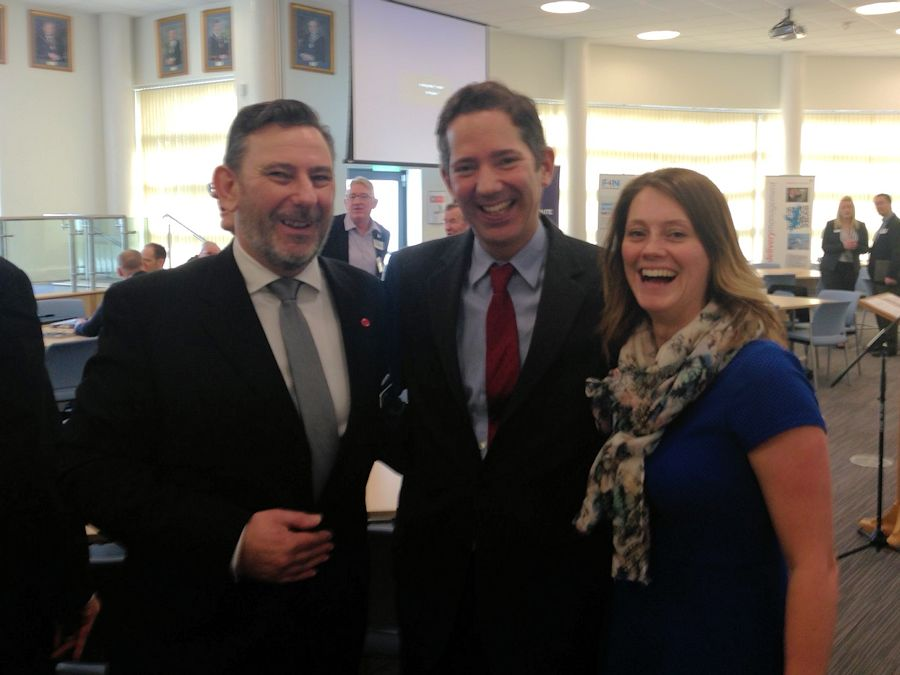 Jonathan Djanogly with Stuart and Louise at the Huntingdonshire Manufacturers' Association Economics event in Huntingdon.