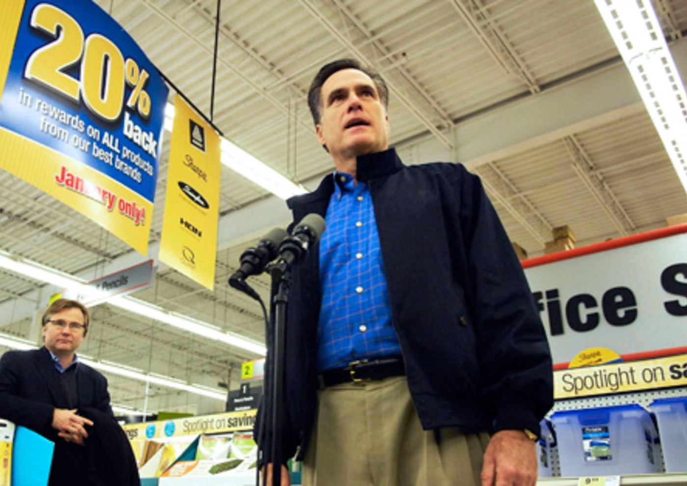 Romney in a Staples store, a company he built. Whilst the Governor may have fallen short in 2012, don't rule out someone doing the same in the future|Photo: Reuters
