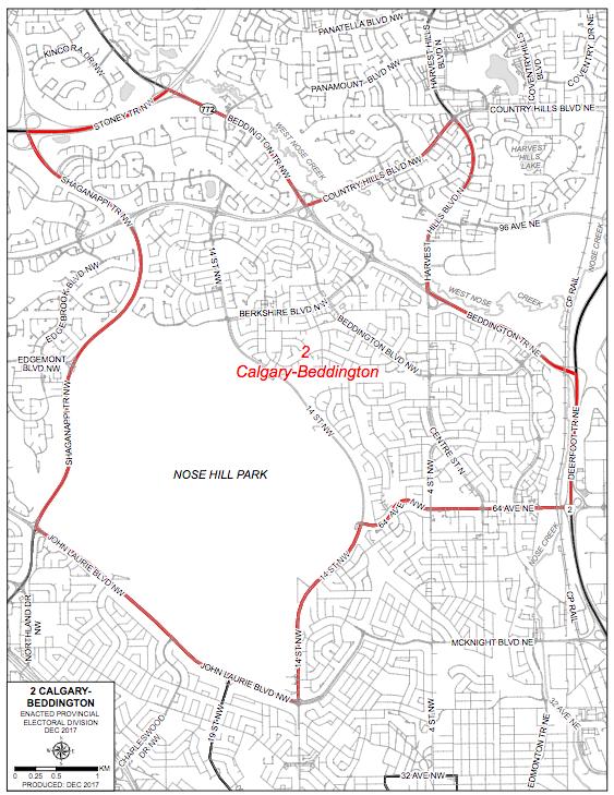Calgary-Beddington boundary map