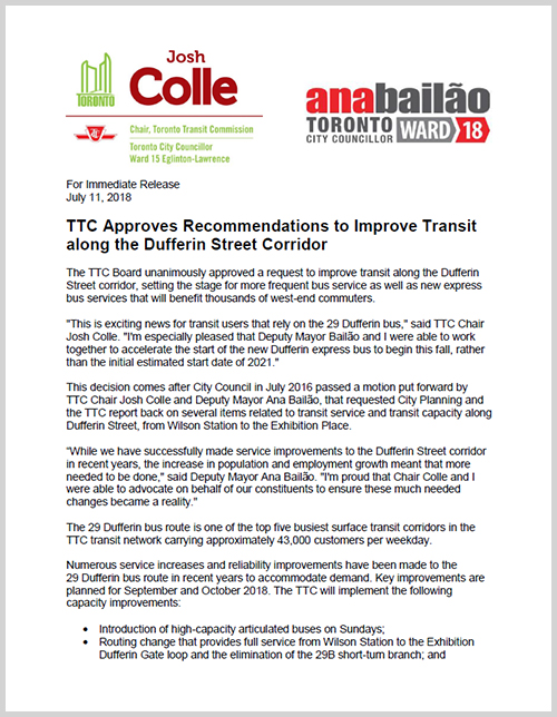 Press Release: TTC Approves Recommendations to Improve Transit along the Dufferin Street Corridor