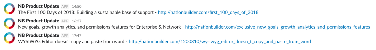Nationbuilder Product Updates in Slack