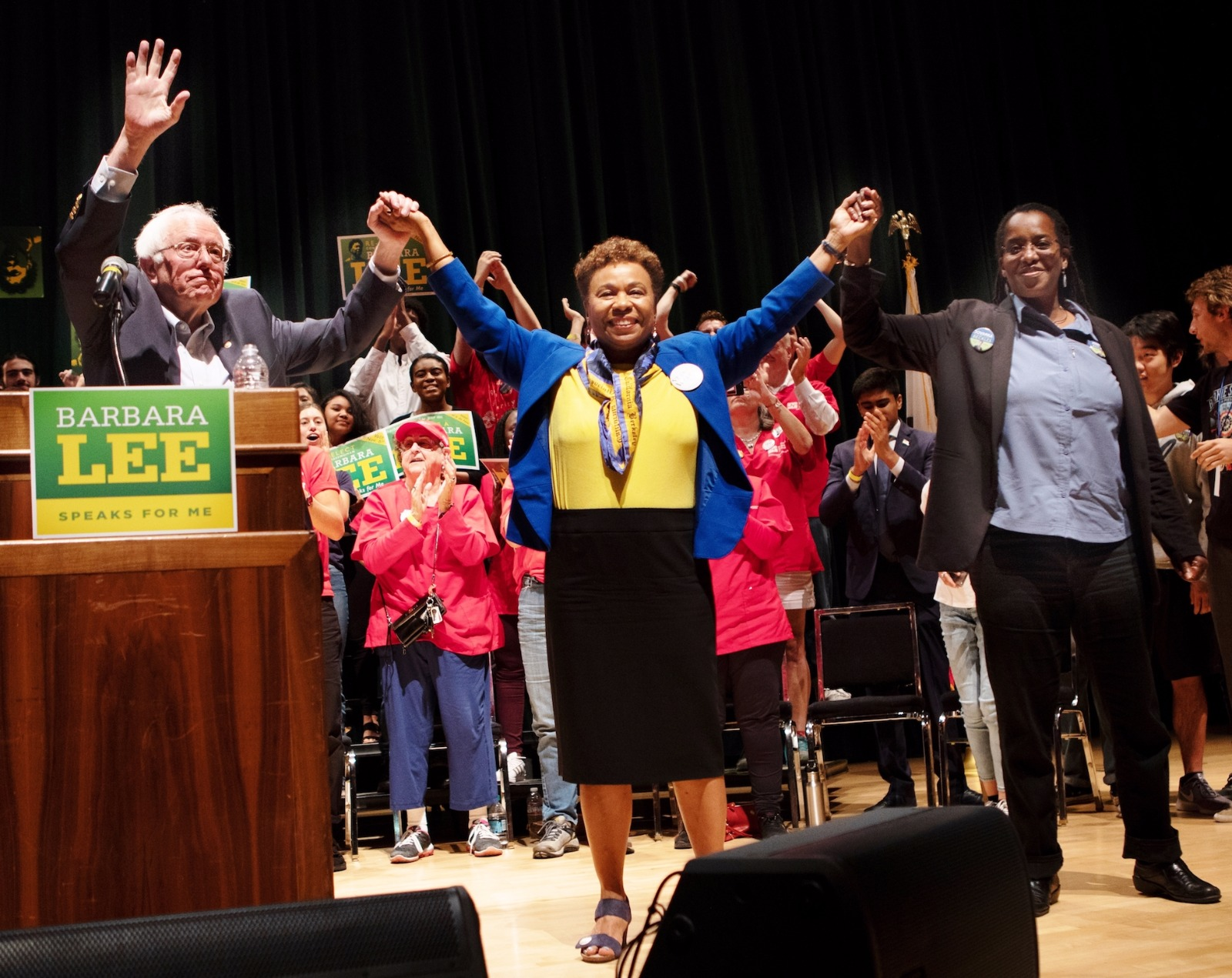 Bernie Sanders, Barbara Lee, and Jovanka Beckles