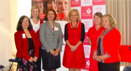 With fellow members of the Healthy Heart Challenge, part of the Go Red for Women campaign to raise awareness of heart disease in women.