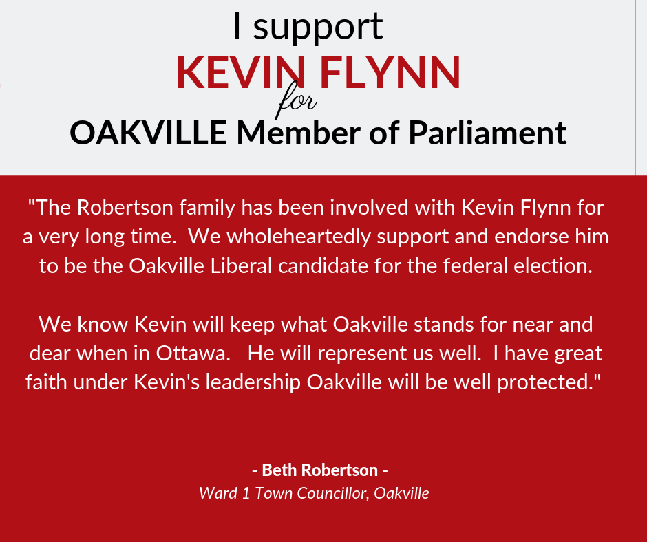 Beth supports Kevin Flynn for Oakville