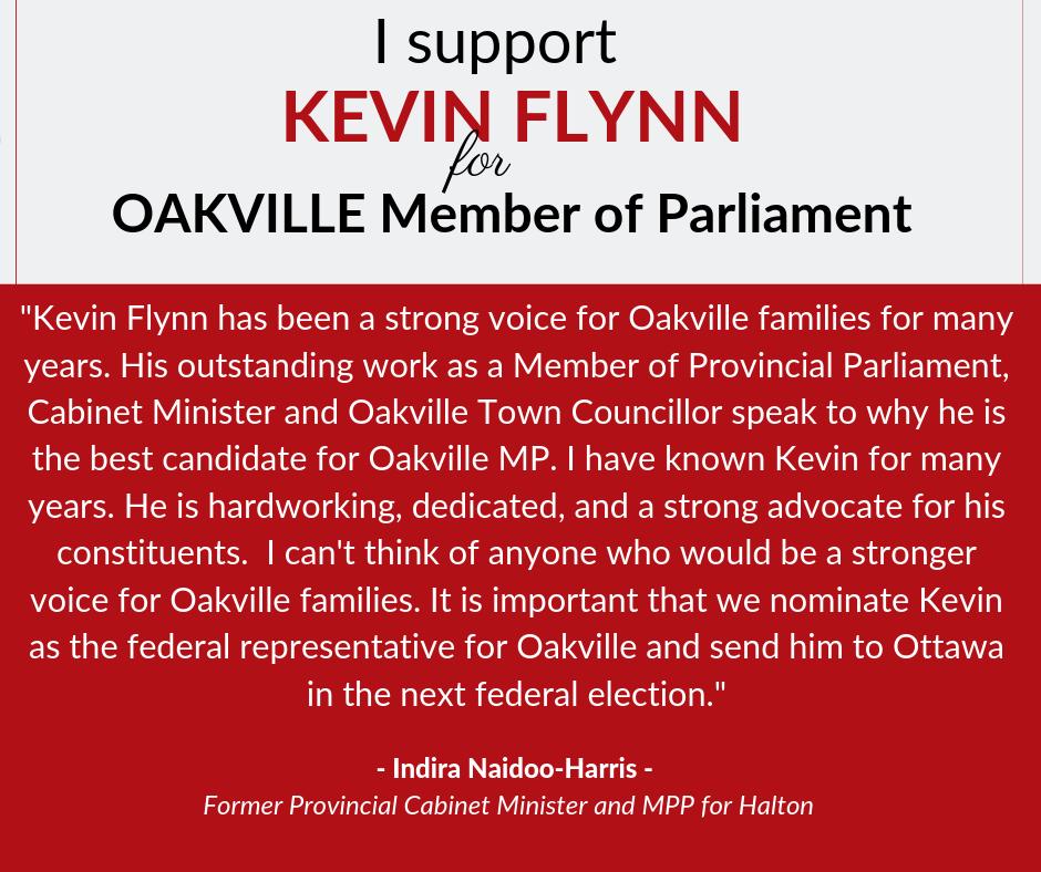 Indira supports Kevin Flynn for Oakville