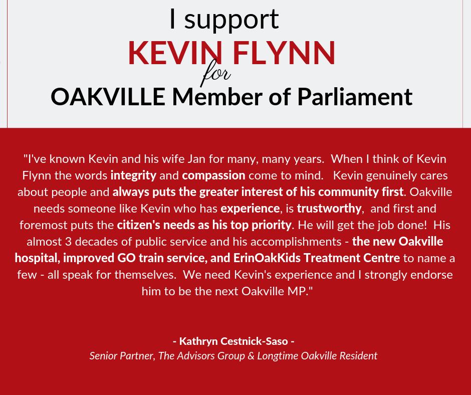 Kathryn supports Kevin Flynn for Oakville
