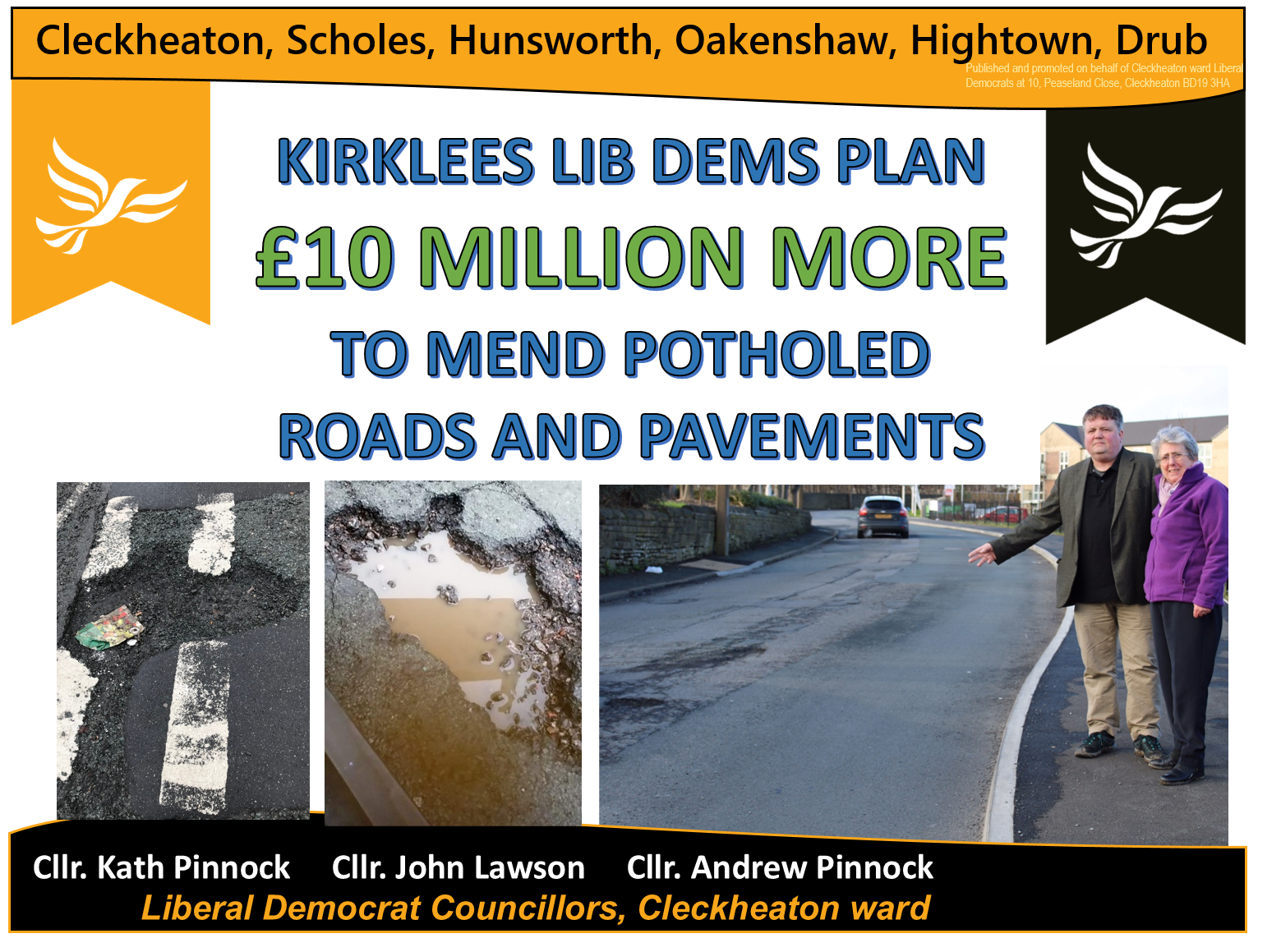 Potholes, among very many, in Cleckheaton reported for repair