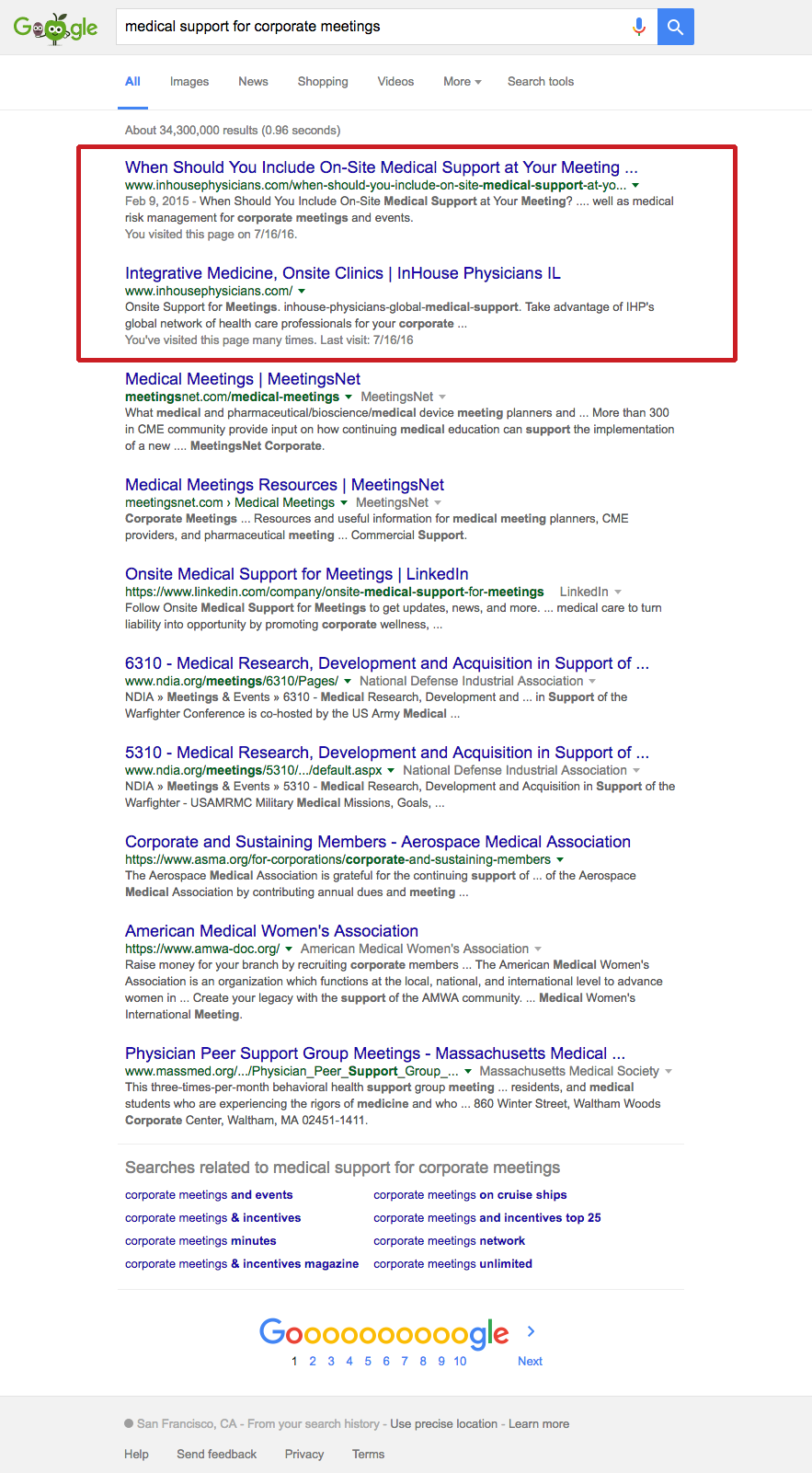 Top 2 search engine rankings for long-tail keywords for InHouse Physicians. Read the case study at www.straubcreative.co