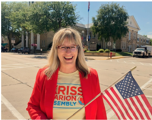 Kriss Marion for State Assembly with Flag