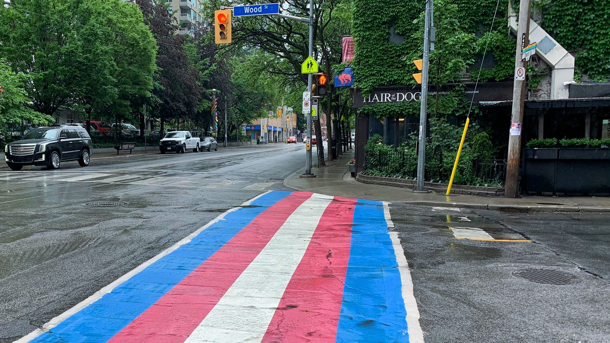 trans flag at Church and Wood Street
