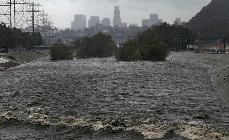 Flooding with DTLA in background