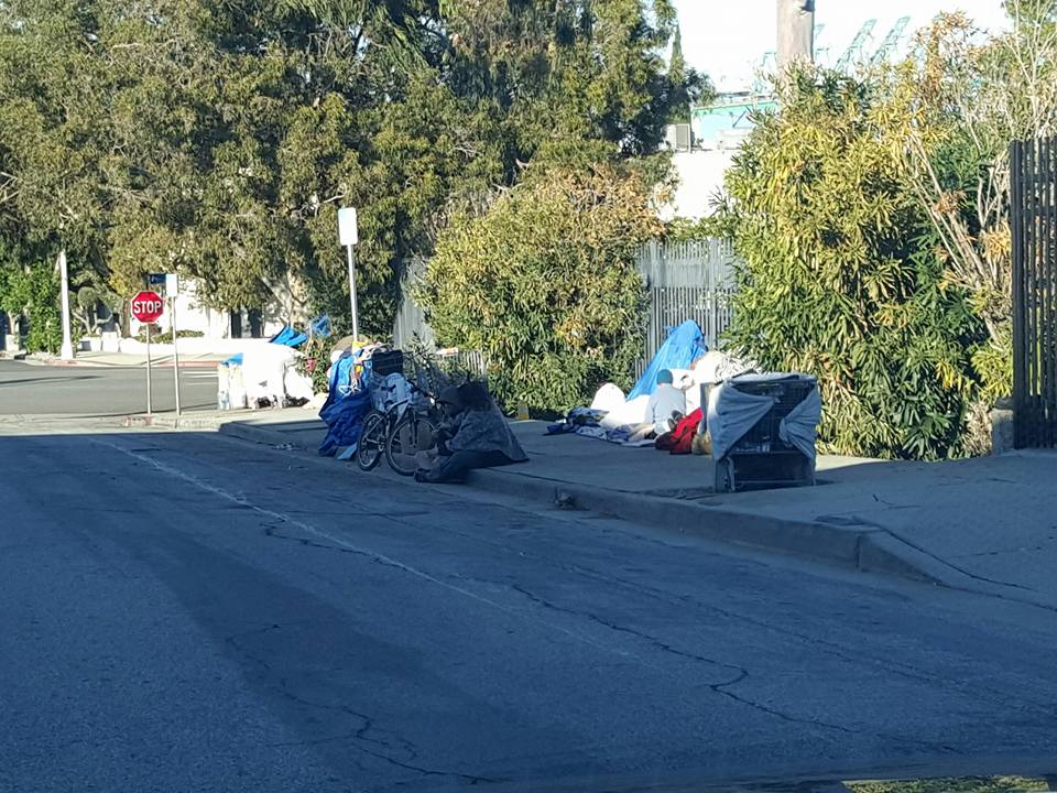homeless encampment on sidewalks