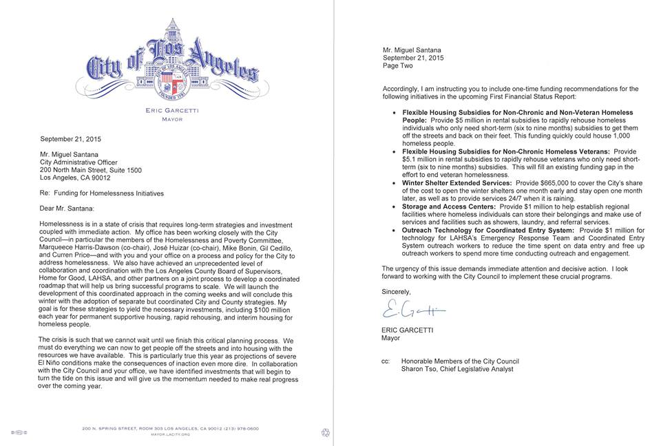 Letter from Mayor Garcetti to City Admin Officer