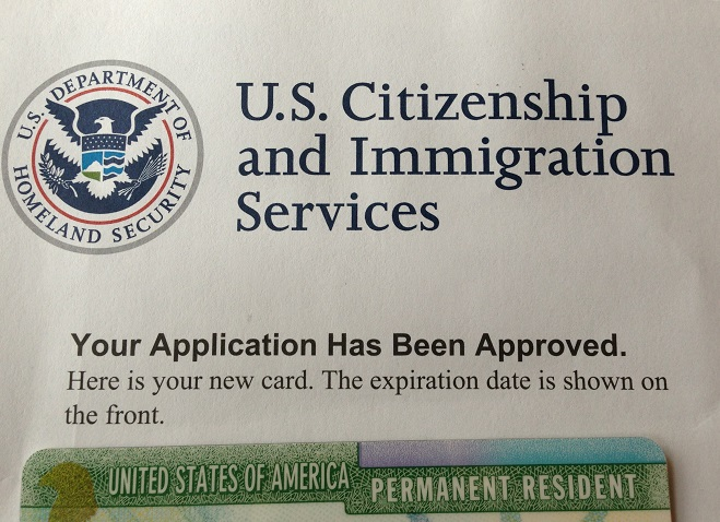US Citizen Application Approved Document and part of a green card
