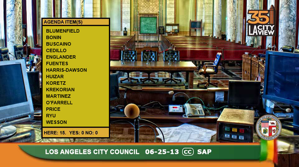 Stock photo of empty LA City Council Chambers