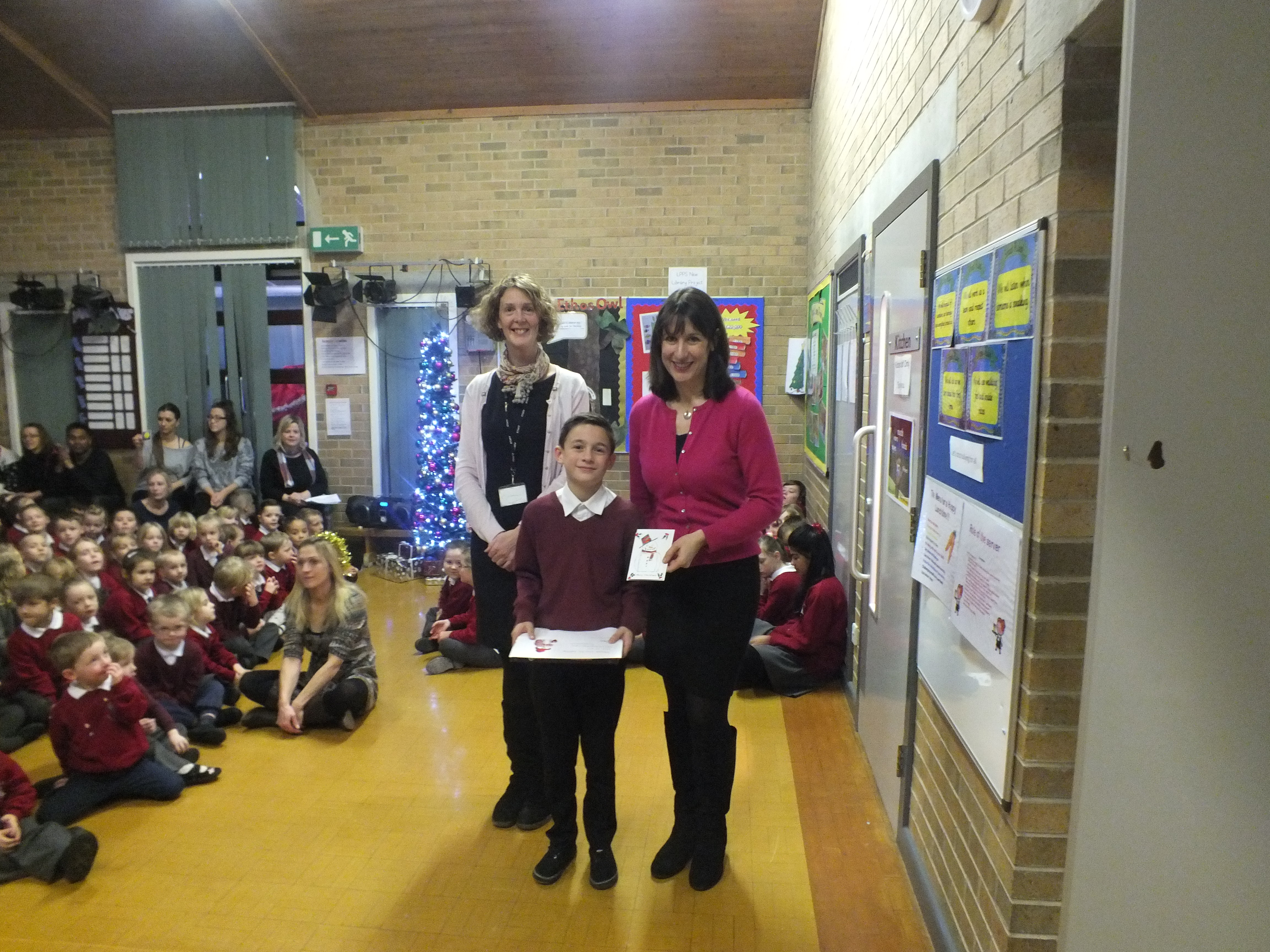 Rachel with Headteacher Ms Ford and competition winner, Archie