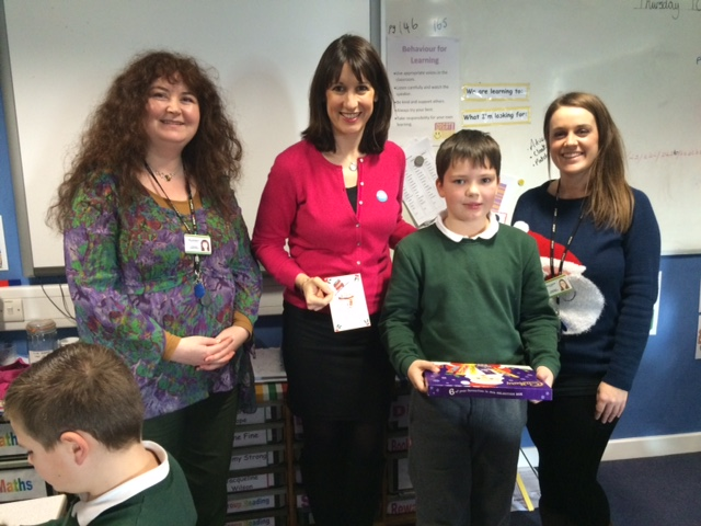 Rachel with Headteacher Mrs Reeve with runner up, George