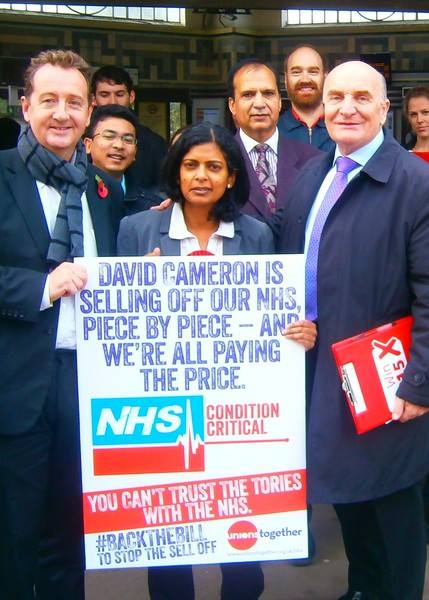 Rupa Huq campaigning for the NHS with Cllr Julian Bell and Steve Pound MP