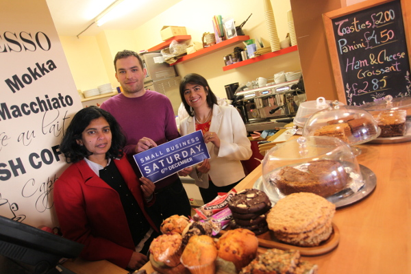 Artur Manasaryan of Latte Matte with Rupa Huq, Labour's prospective parliamentary candidate and Seema Malhotra MP