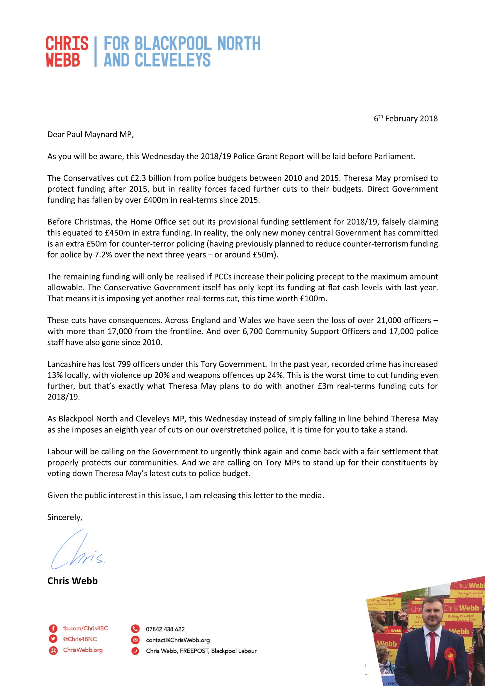 My letter to Paul Maynard MP regarding Police Funding