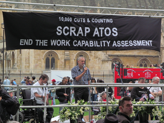 September 28 2013, Jeremy Corbyn speaking at ATOS Demonstration in London