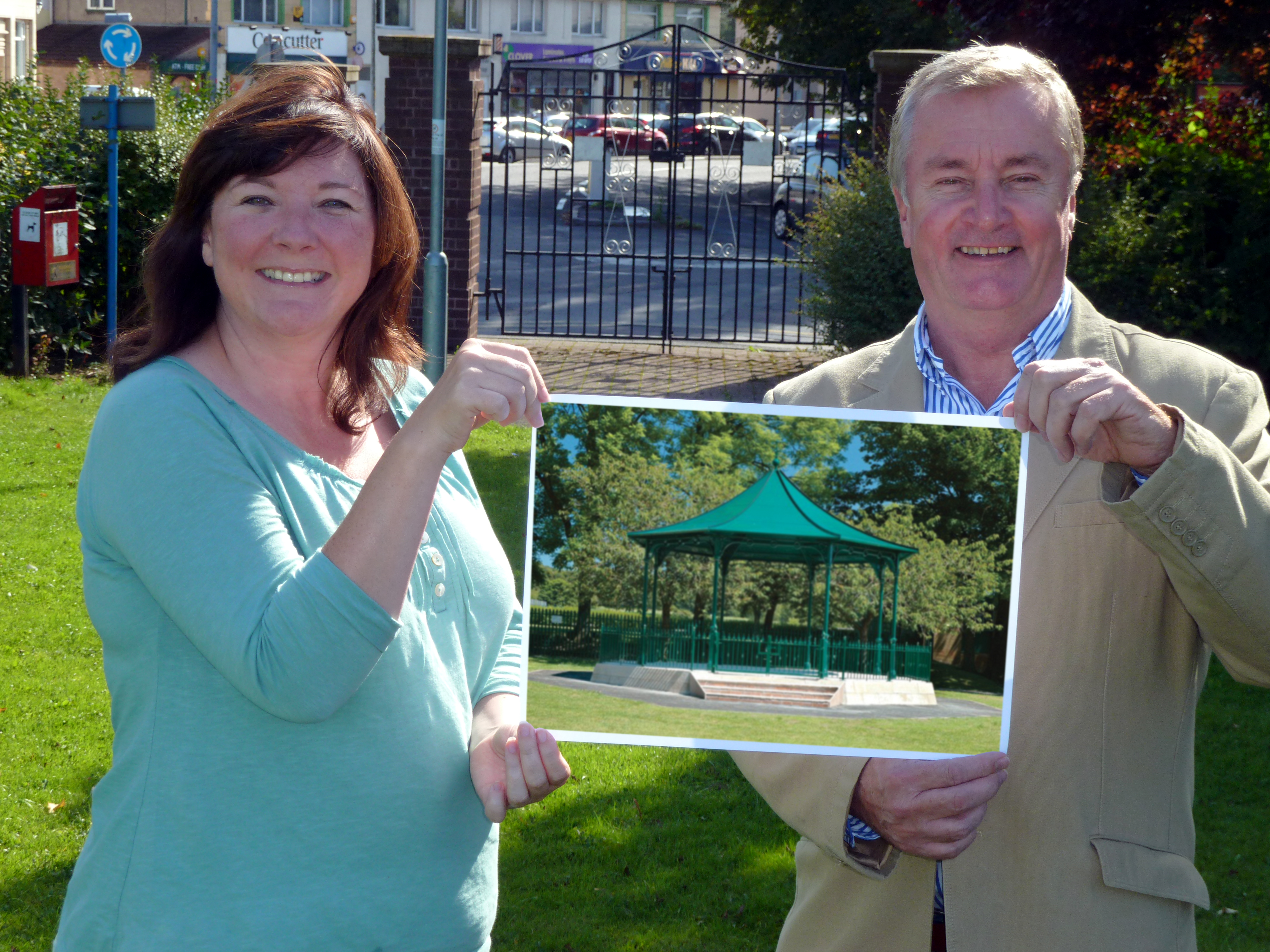 Maghull Town Council Labour leader Cllr Patrick McKinley and Maghull Town Council clerk Angela McIntyre with a photo of what the new bandstand could look like.