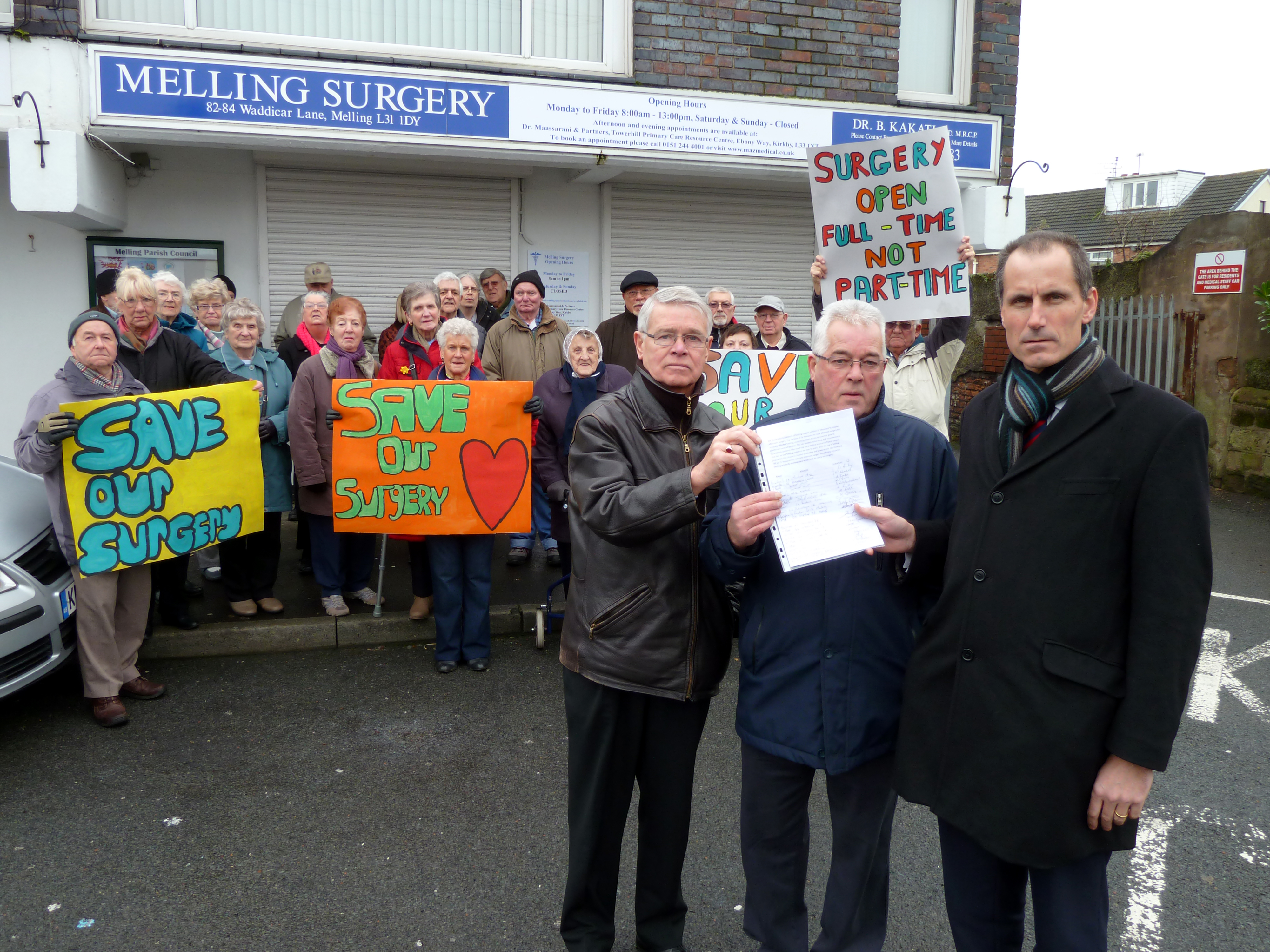 Sefton Central Labour MP Bill Esterson with residents outside the Melling Surgery.