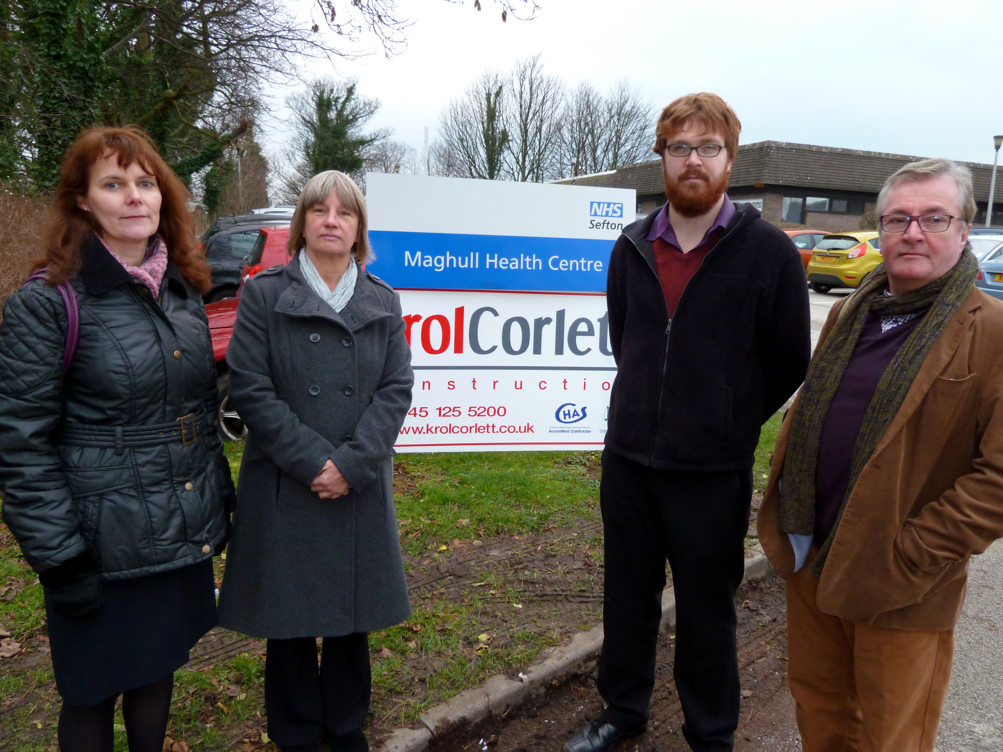 Maghull Labour councillors Lynn Gatherer and Patrick McKinley celebrate outside Maghull Health Centre where Maghull's community dentist is based.