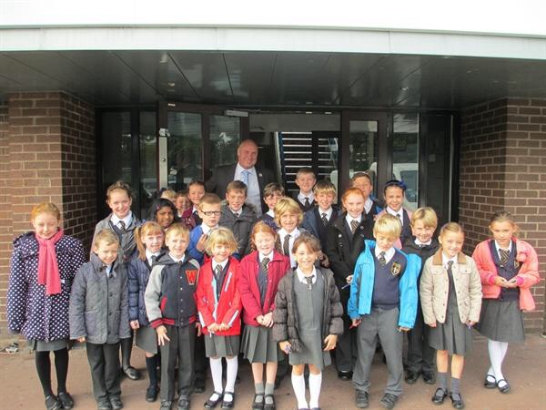 Maghull Town Council Labour councillor Dave Jones with the St Andrew's pupils during their visit to Maghull Town Hall.