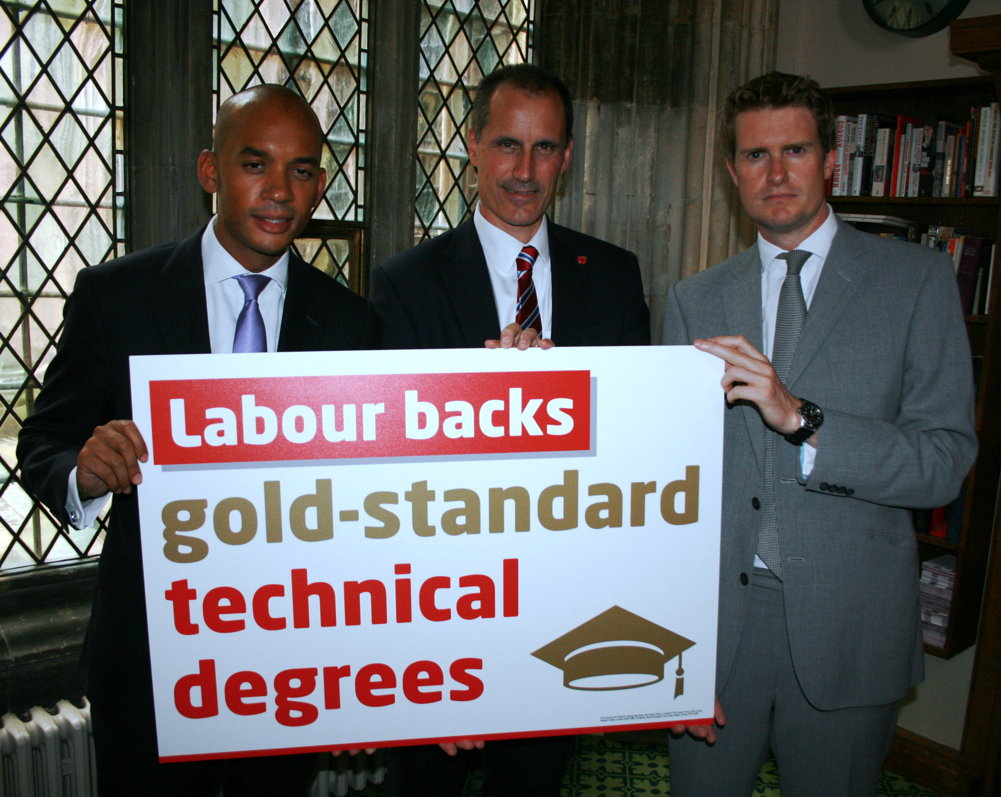 Shadow Business Secretary Chuka Umunna, Sefton Central Labour MP Bill Esterson and Shadow Education Secretary Tristram Hunt back Gold Standard Technical Degrees.