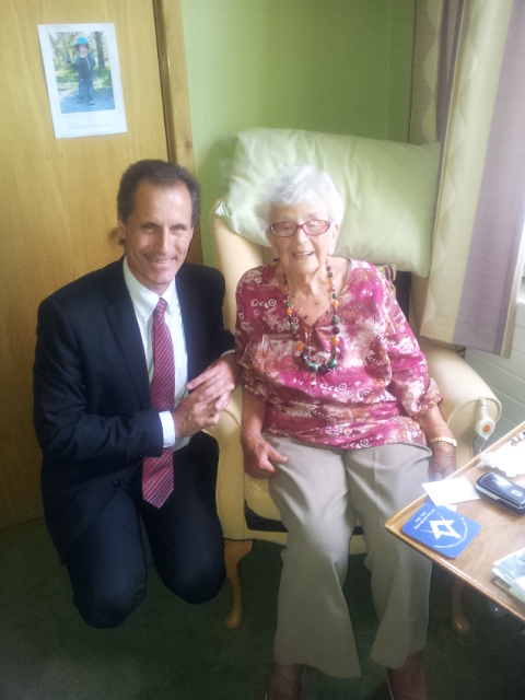 Labour MP Bill Esterson got the chance to meet 102 year old Phyllis at Tithe Barn Care Home.