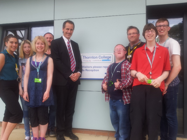 Sefton Central Labour MP Bill Esterson with staff and students of Thornton College during his visit this week.