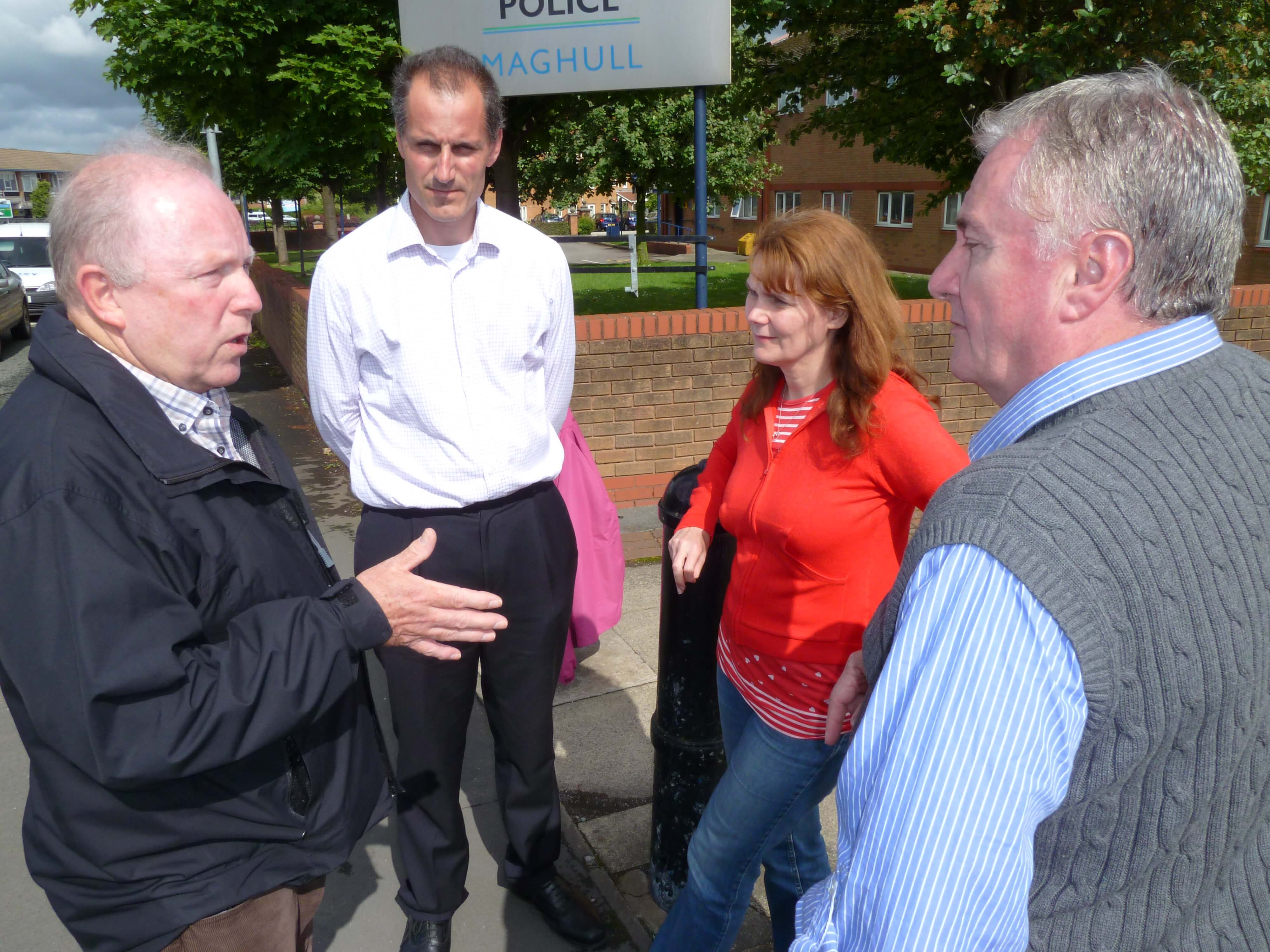 Sefton Central Labour MP Bill Esterson with Labour councillors John Sayers, Lynn Gatherer and Patrick McKinley.