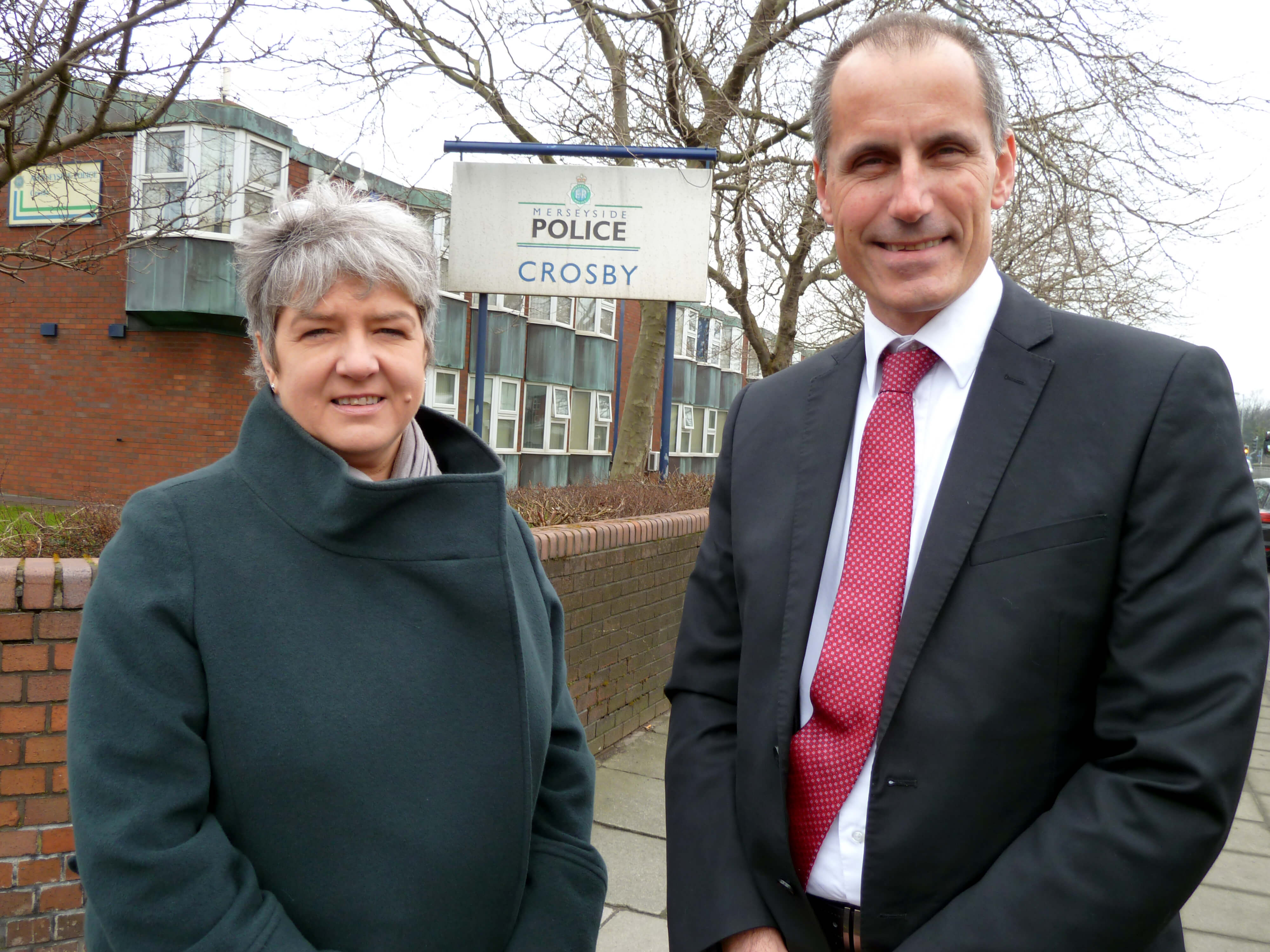 Police and Crime Commissioner Jane Kennedy with Labour's Bill Esterson on visits to police stations in Formby, Crosby and Maghull.