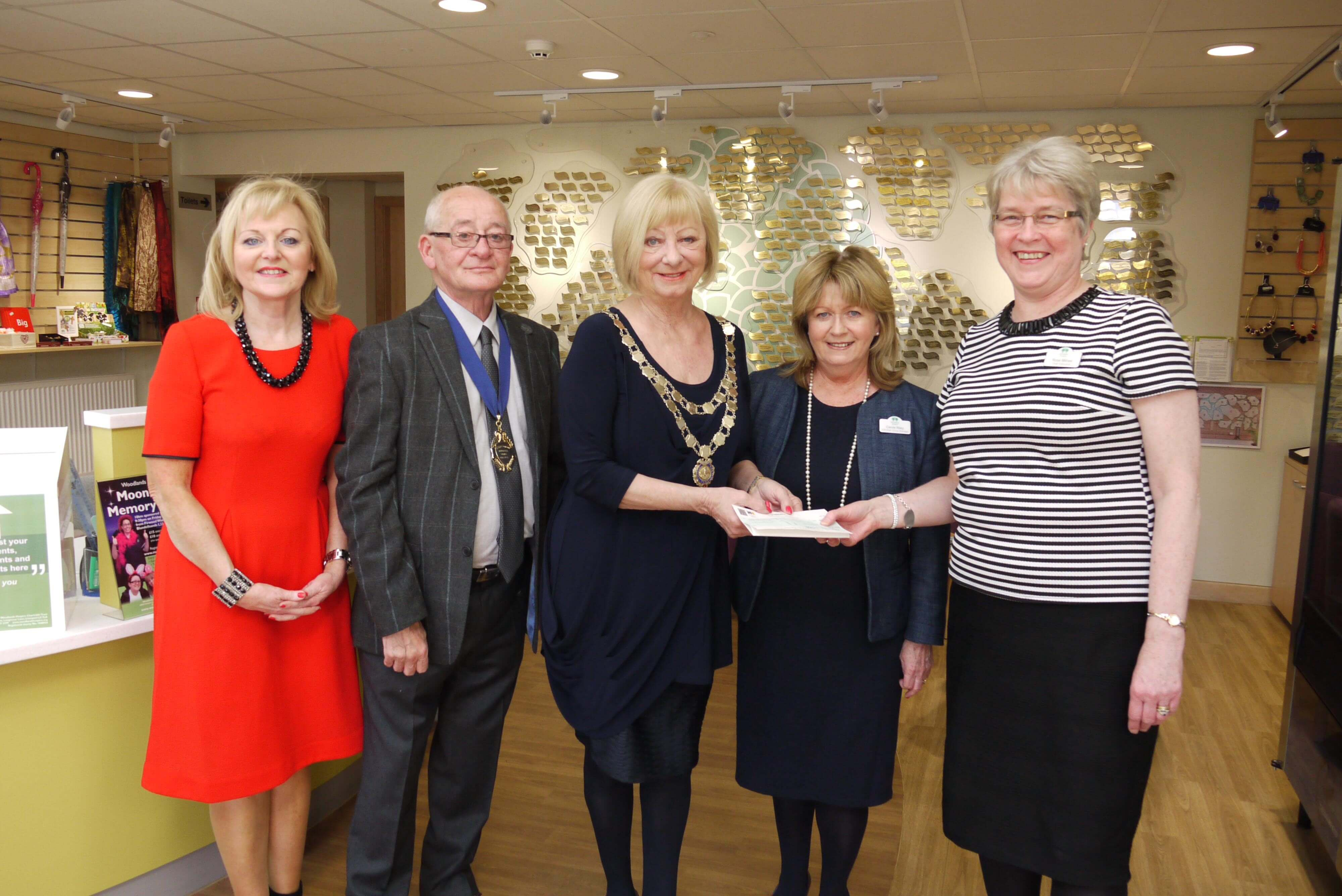 Mayor of Maghull Cllr Joan Deegan with Cllr Rod Deegan and members of Woodlands Hospice