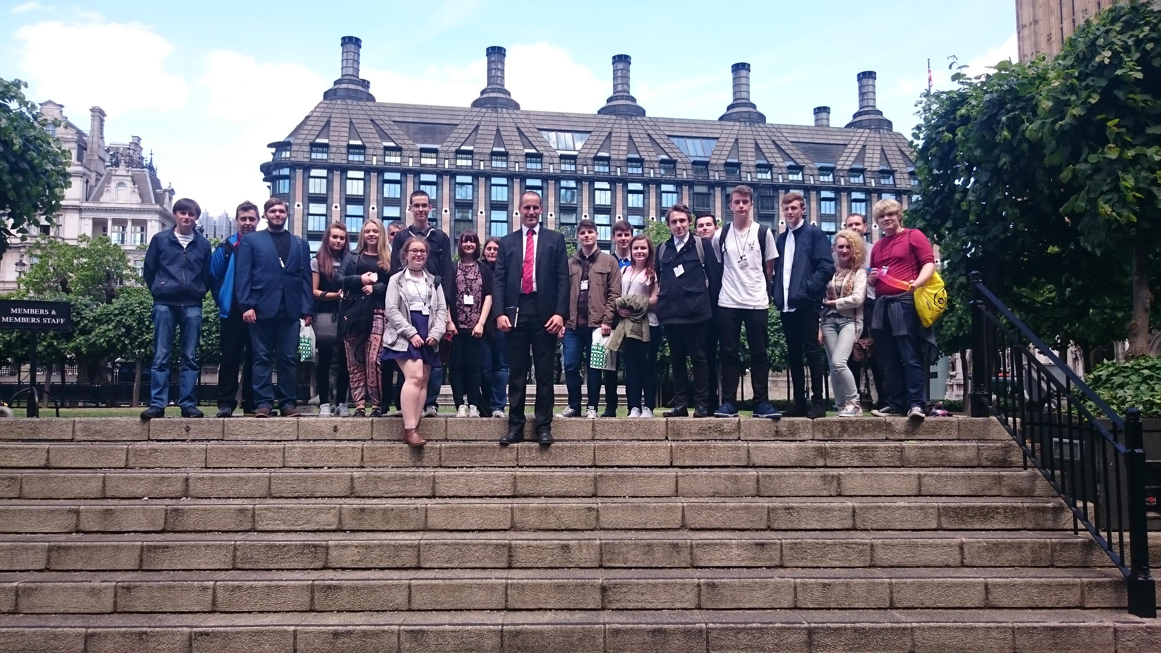 Labour MP Bill Esterson with Maghull High School students outside Parliament during their trip to Westminster.
