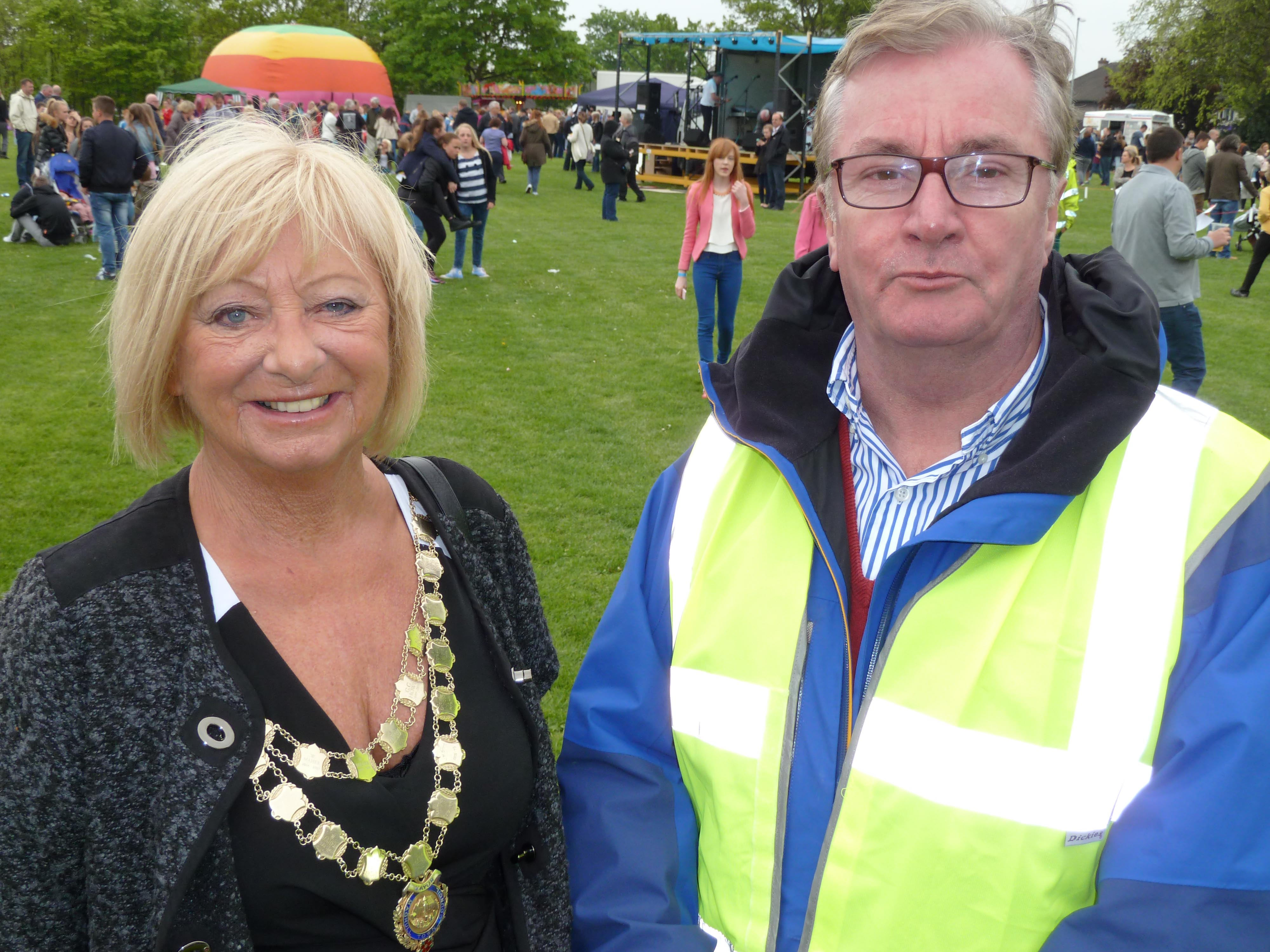 Mayor of Maghull Cllr Joan Deegan and Maghull Town Council Labour leader Cllr Patrick McKinley at the MaghullFest last summer