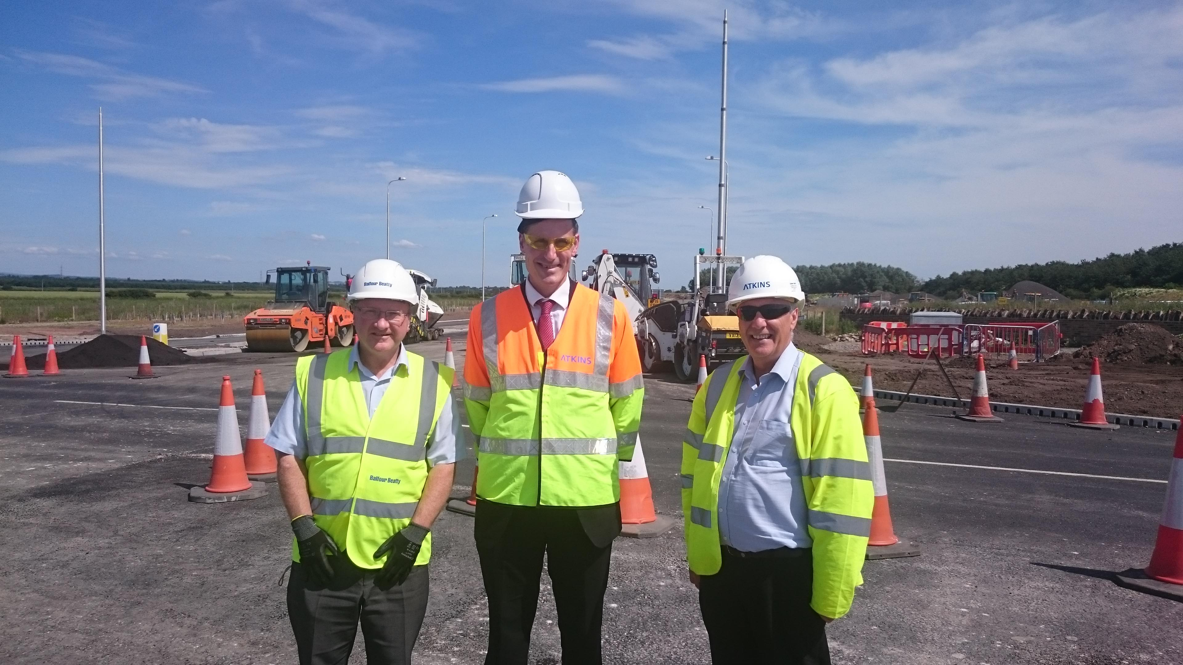 Sefton Central Labour MP Bill Esterson with Atkins site manager Gordon Cowan and Balfour Beatty project manager Andy Leech.