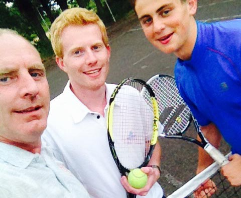 Lydiate dad Brendan Nash with son Ben Bowker and nephew Joe Nash on the newly 'netted' Sandy Lane tennis courts.