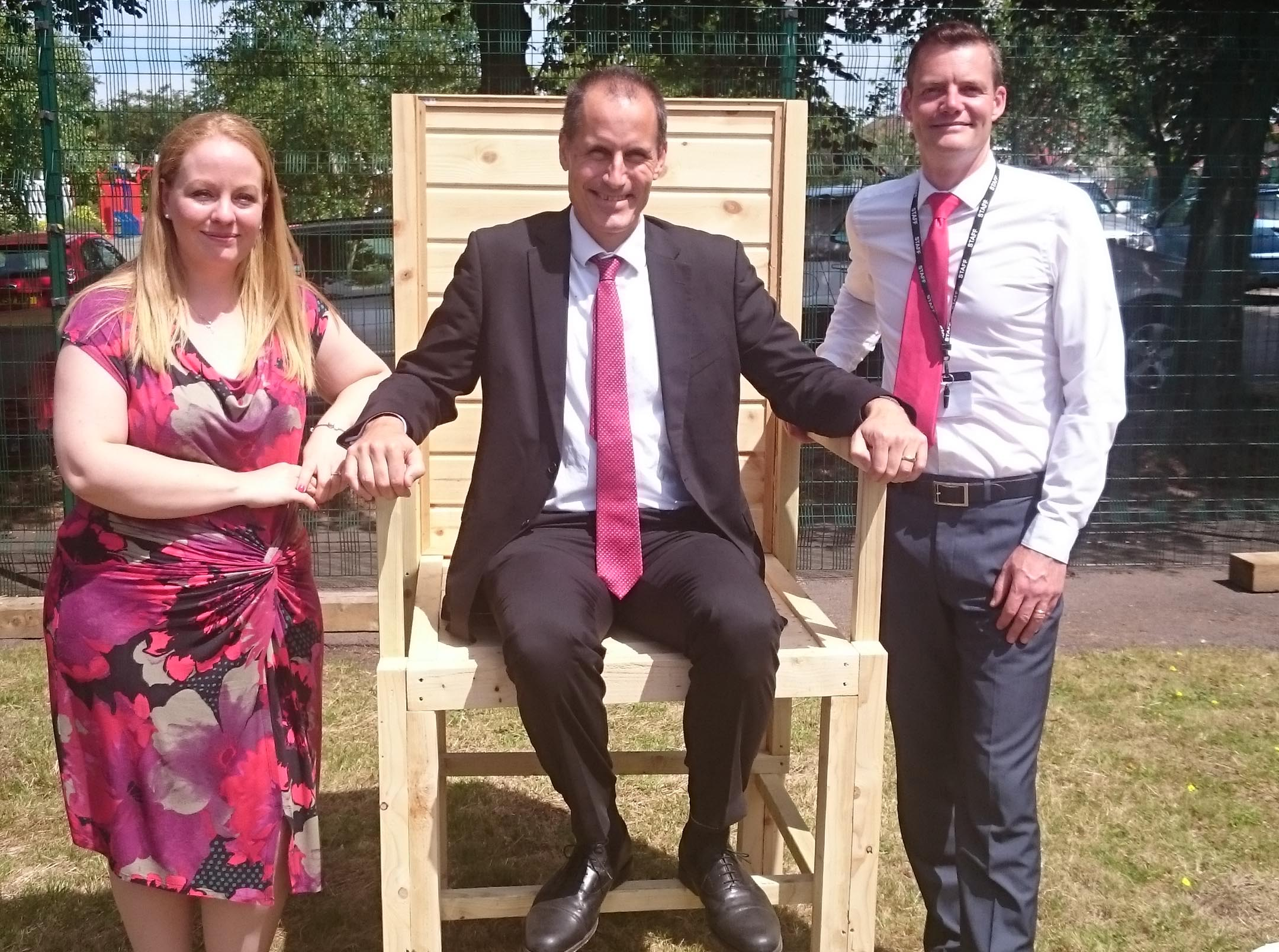 Sefton Central Labour MP Bill Esterson with Helen Watson and St George's headteacher Pete Chapman.