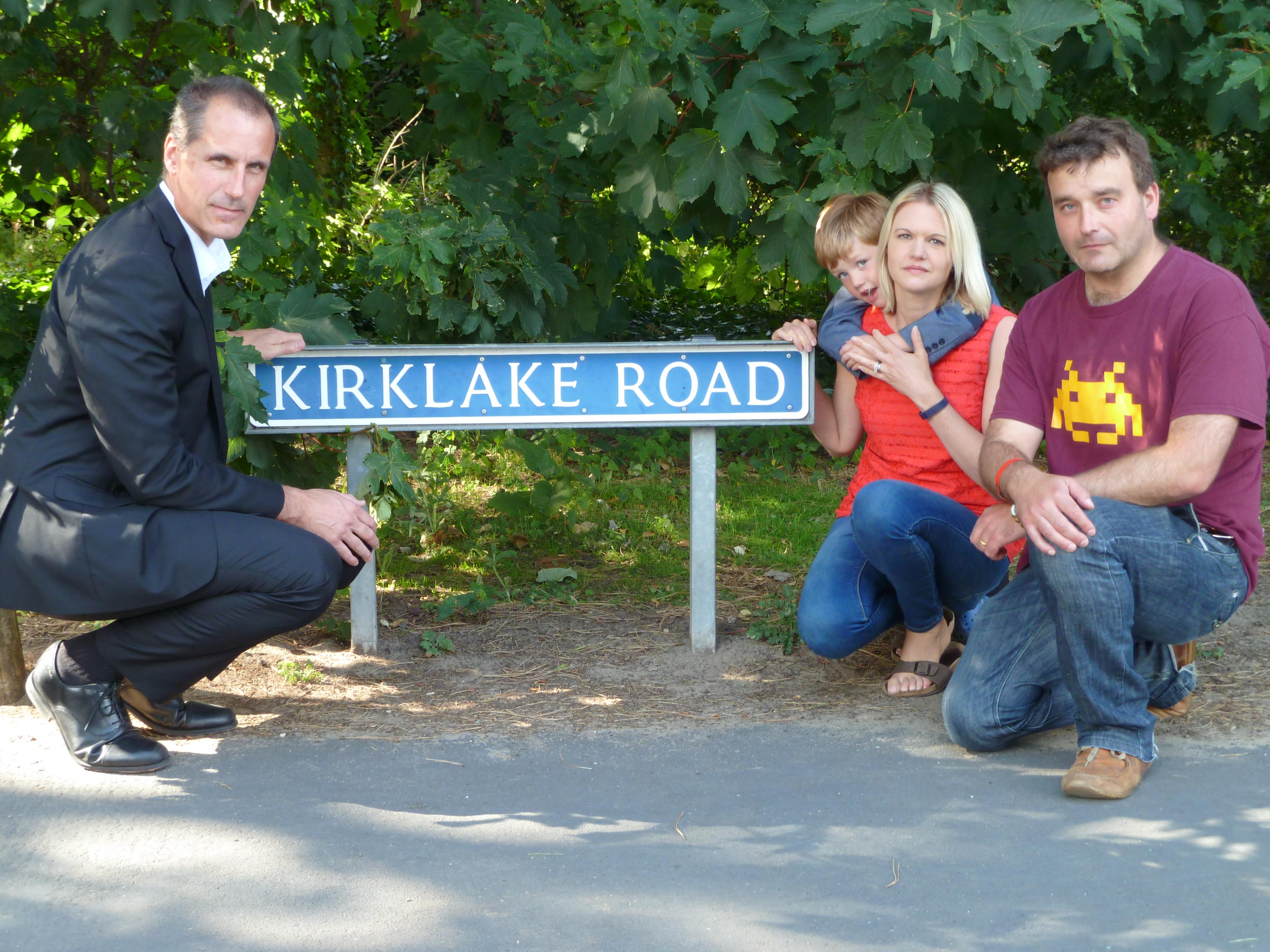 Sefton Central Labour MP Bill Esterson, Cllr Nina Killen and son Daniel, and Cllr Tim Hale on Kirklake Road, which is part of the 44 route which has been cut.