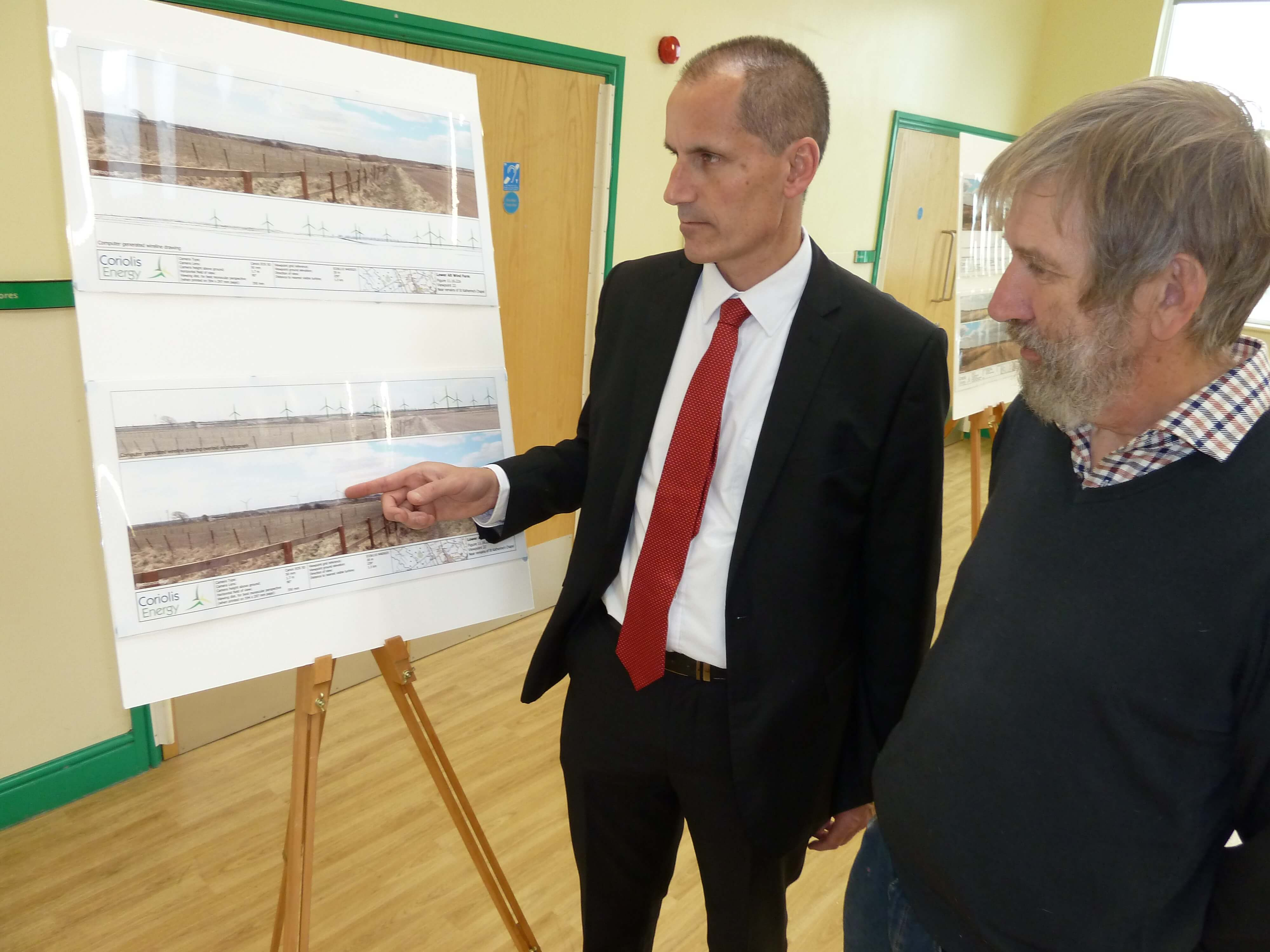 Sefton Central Labour MP Bill Esterson with Lydiate Parish Council Labour chairman Cllr John Bailey at the proposed windfarm exhibition at Lydiate Village Centre.